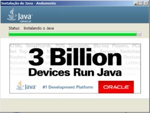 Aguarde o término da instalação do Java