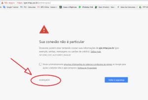 Erro ao acessar o Site Pje
